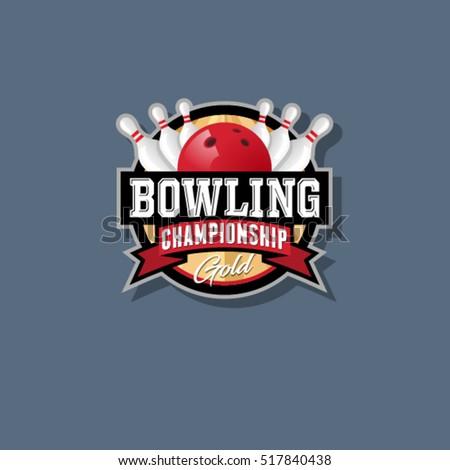 Bowling Championship Emblem Logo Skittles Stock Photo Vector Illustration 517840438