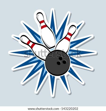 bowling design over blue background vector illustration - stock vector
