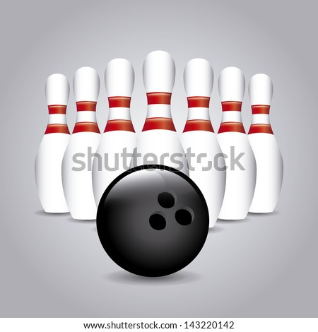 bowling design over gray background vector illustration - stock vector