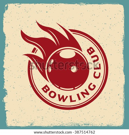 bowling emblem. logotype template on retro grunge background. vector illustration