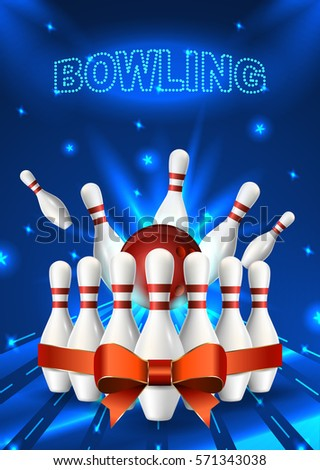 Bowling Flyer Template A Format Size Stock Photo Photo Vector
