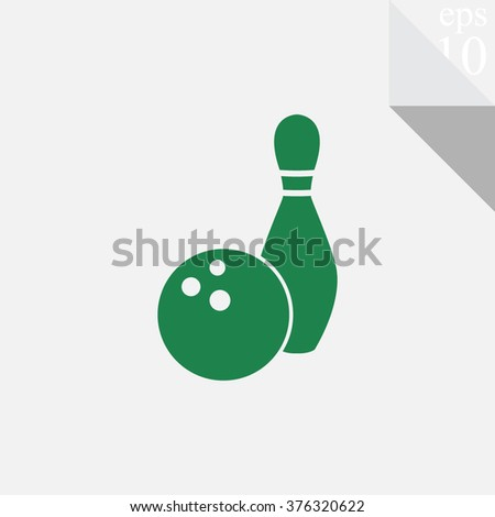 Bowling game vector icon. Ball with skittle symbol.