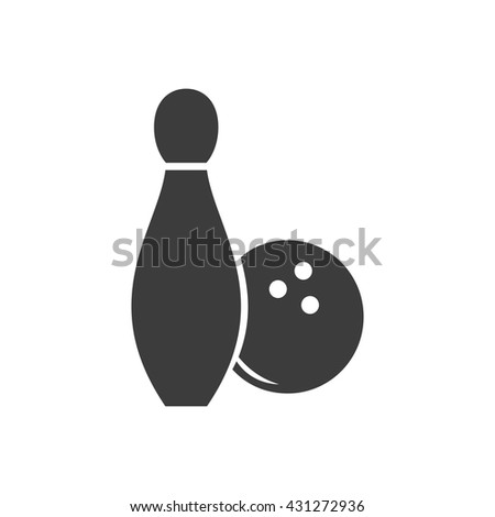 Bowling icon. Bowling Vector isolated on white background. Flat vector illustration in black. EPS 10 - stock vector