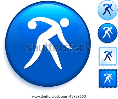 Bowling Icon on Internet Button Original Vector Illustration