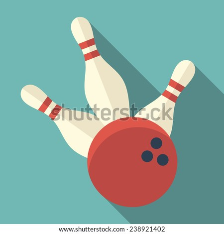 bowling icon with long shadow - stock vector