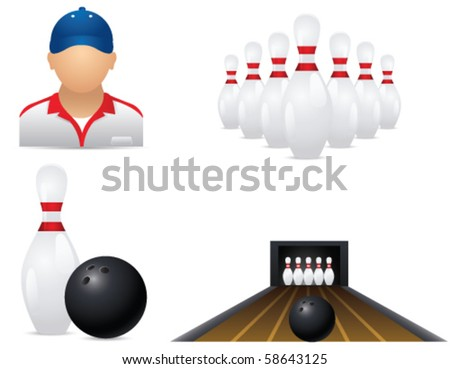 Bowling icons - stock vector