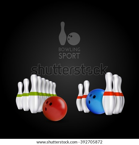 Bowling items on the dark background. Bowling skittles and bowls as vector design elements. - stock vector