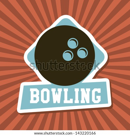 bowling label over rays background vector illustration - stock vector
