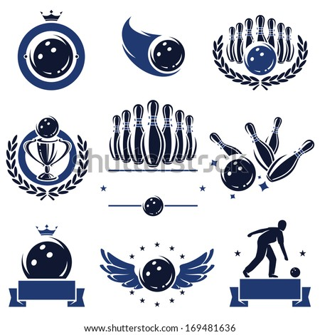 Bowling labels and icons set. Vector  - stock vector