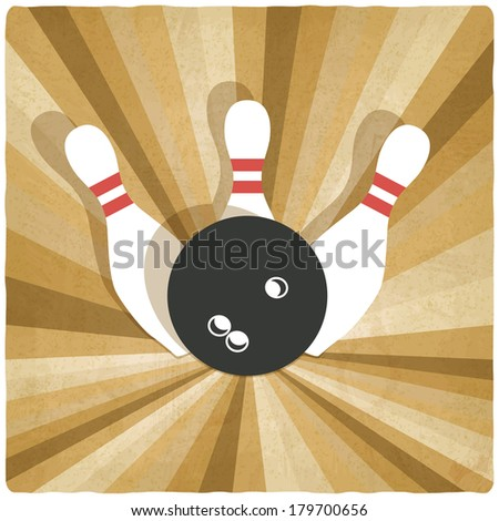 bowling old background - vector illustration