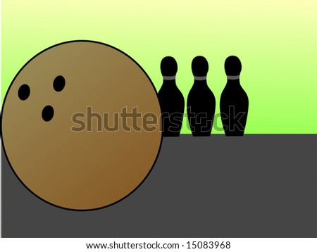 bowling pins and ball	 - stock vector