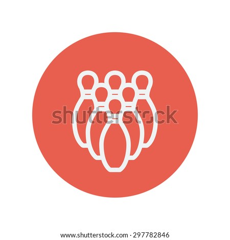 Bowling pins thin line icon for web and mobile minimalistic flat design. Vector white icon inside the red circle. - stock vector
