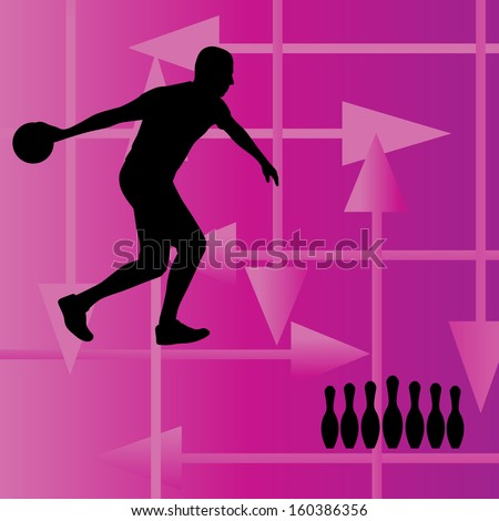 Bowling player silhouettes vector abstract background - stock vector