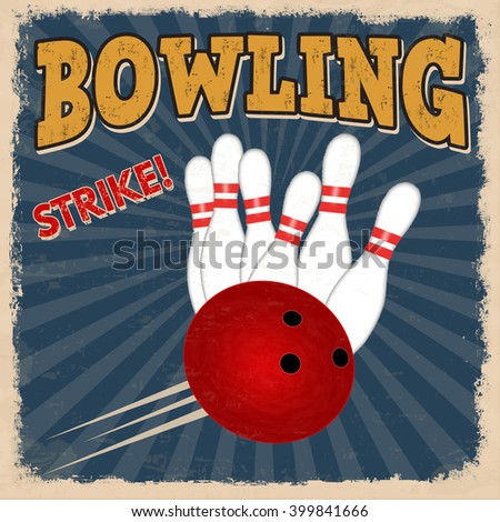 Bowling retro poster design template on blue background, vector illustration - stock vector