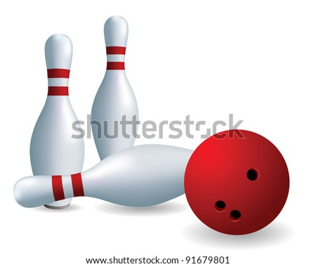 Bowling. Skittles and ball on a white background