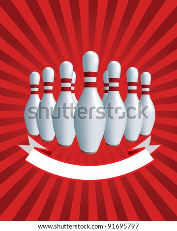 Bowling. Skittles and balls on a red background. Banner