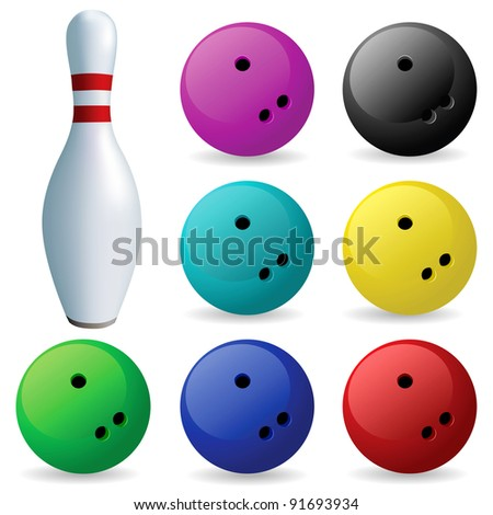 Bowling. Skittles and balls on a white background - stock vector