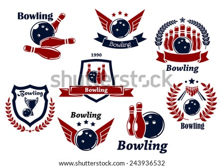 Bowling sports emblems and symbols with ball, ninepins, wings, laurel wreath, trophy cup and decorations - stock vector