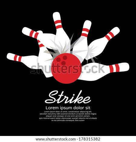 Bowling Strike  - stock vector