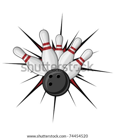 Bowling symbol isolated on white for sports design. Jpeg version also available in gallery - stock vector