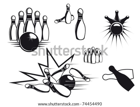 Bowling symbols set isolated on white for sports design. Jpeg version also available in gallery - stock vector