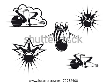 Bowling symbols set isolated on white for sports design or logo template. Jpeg version also available in gallery - stock vector