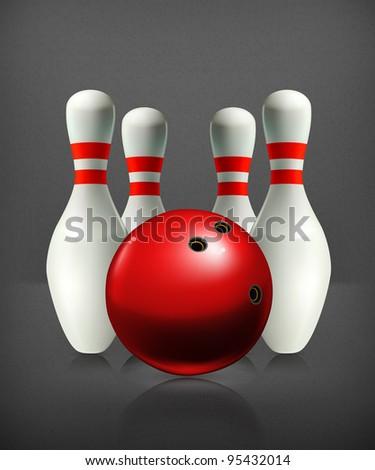 Bowling, vector - stock vector