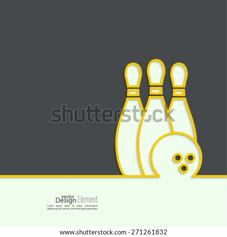Bowling. Vector abstract background. Pin and ball. The concept of games, entertainment, hobbies and leisure club.  - stock vector