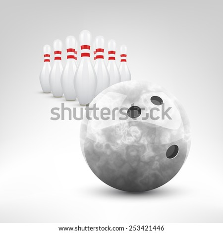 Bowling vector illustration. Grey bowling ball and pins isolated. - stock vector