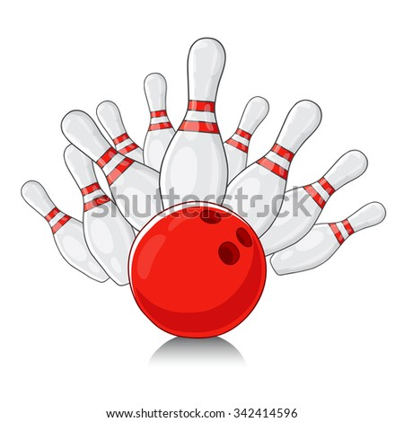 Bowling. White bowling splits red ball. Vector illustration on a white background, painted by hand. - stock vector