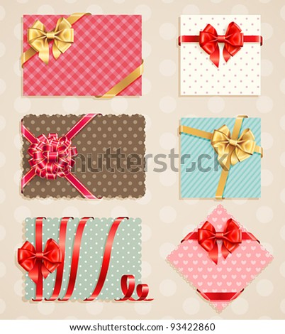 Bows Collection with vintage greeting cards. Vector illustration. - stock vector