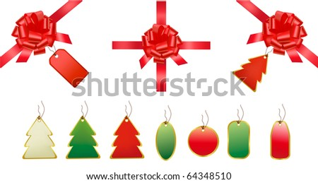 Bows, ribbons and set of shopping tags and stickers. Vector. - stock vector