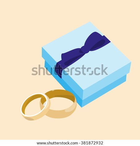 box blue ribbon with ring vector - stock vector