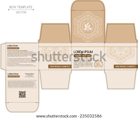 Box design, die-stamping. Vector template - stock vector