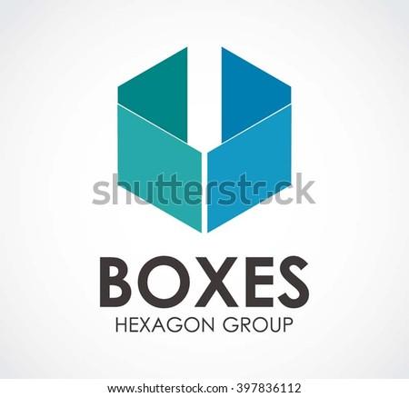 Box Flat Hexagon Abstract Vector Logo Stock-Vektorgrafik 397836112 ...