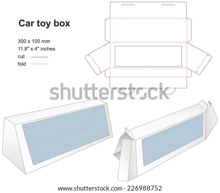 Box for children toy with stamp - stock vector
