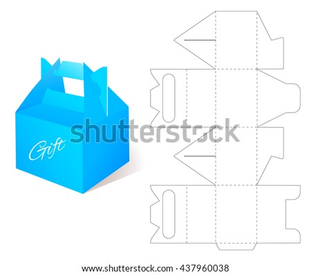 Box gift blueprint box template craft stock vector 437960038 gift blueprint box template craft box mockup retail cardboard with die malvernweather Images