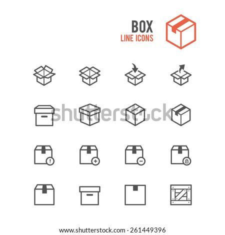 Box icon set. Vector illustration. - stock vector