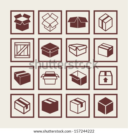 Box icons - stock vector