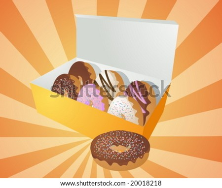 Box of assorted donuts illustration on radial burst - stock vector