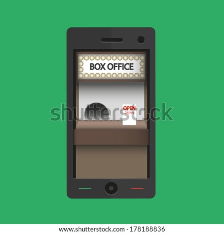 Box office  24 hours in smart phone - Vector