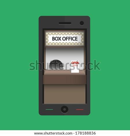 Box office  24 hours in smart phone - Vector  - stock vector