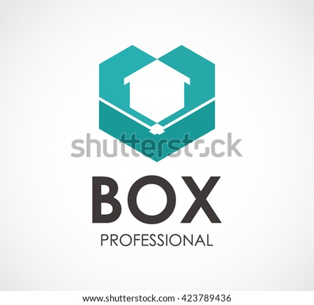 Box professional of 3D abstract vector and logo design or template cubes business icon of company identity symbol concept - stock vector