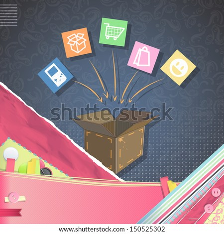 Box shop over vintage background. Vector design.