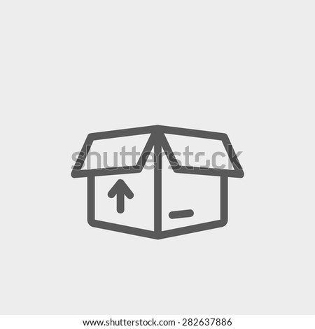 Box with arrow up inward, incoming loading icon thin line for web and mobile, modern minimalistic flat design. Vector dark grey icon on light grey background. - stock vector