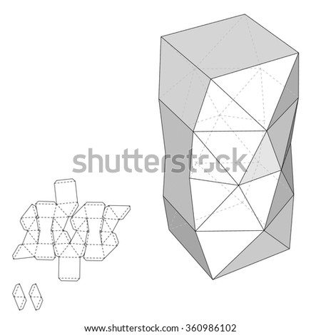 Box with Die Cut Template. Packing box For Food, Gift Or Other Products. On White Background Isolated. Ready For Your Design. Product Packing Vector EPS10 - stock vector