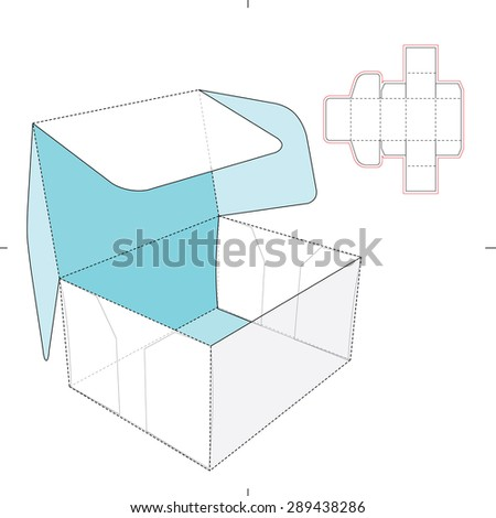 Box with Flip-flop Lid and Dieline Pattern - stock vector