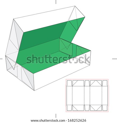 Box with Flip Lid and Blueprint Layout - stock vector