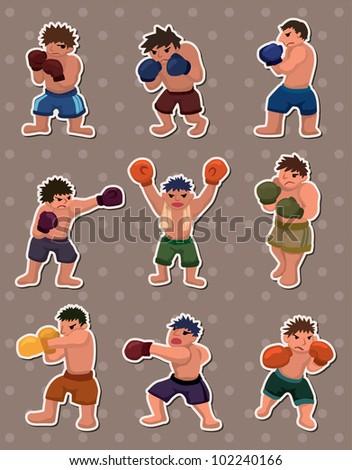 boxer stickers - stock vector