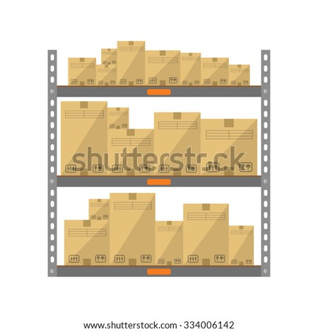 Boxes on the shelves flat icon isolated on white background - stock vector